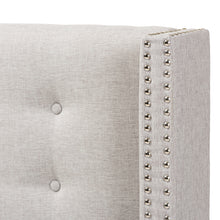 Baxton Studio Ginaro Modern And Contemporary Greyish Beige Fabric Button-Tufted Nail head Queen Size Winged Headboard Baxton Studio-Queen Headboard-Minimal And Modern - 4