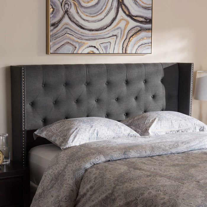 Baxton Studio Ally Modern And Contemporary Dark Grey Fabric Button-Tufted Nail head King Size Winged Headboard Baxton Studio-King Headboard-Minimal And Modern - 1