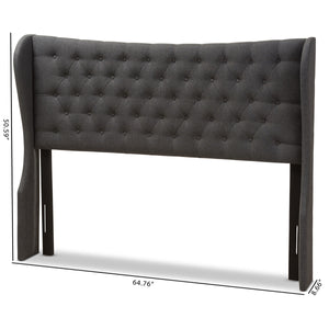 Baxton Studio Cadence Modern and Contemporary Dark Grey Fabric Button-Tufted King Size Winged Headboard Baxton Studio-Headboards-Minimal And Modern - 6