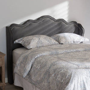 Baxton Studio Nadeen Modern and Contemporary Dark Grey Fabric King Size Winged Headboard Baxton Studio-Headboards-Minimal And Modern - 4