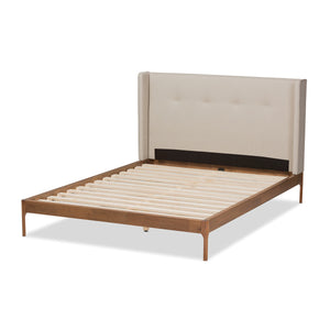 Baxton Studio Brooklyn Mid-Century Modern Walnut Wood Beige Fabric King Size Platform Bed Baxton Studio-King Bed-Minimal And Modern - 4