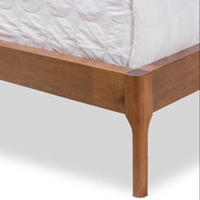 Baxton Studio Brooklyn Mid-Century Modern Walnut Wood Beige Fabric King Size Platform Bed Baxton Studio-King Bed-Minimal And Modern - 8