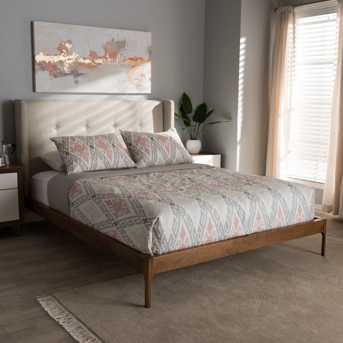 Baxton Studio Brooklyn Mid-Century Modern Walnut Wood Beige Fabric Full Size Platform Bed Baxton Studio-Full Bed-Minimal And Modern - 1