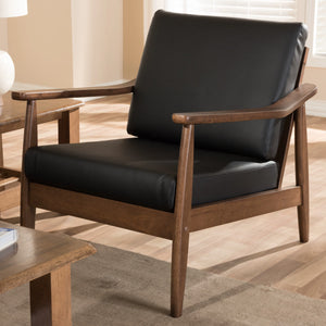 Baxton Studio Venza Mid-Century Modern Walnut Wood Black Faux Leather Lounge Chair Baxton Studio-chairs-Minimal And Modern - 1