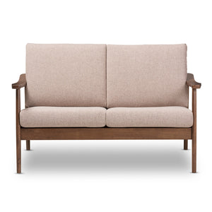 Baxton Studio Venza Mid-Century Modern Walnut Wood Light Brown Fabric Upholstered 2-Seater Loveseat Baxton Studio-sofas-Minimal And Modern - 3