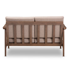 Baxton Studio Venza Mid-Century Modern Walnut Wood Light Brown Fabric Upholstered 2-Seater Loveseat Baxton Studio-sofas-Minimal And Modern - 5