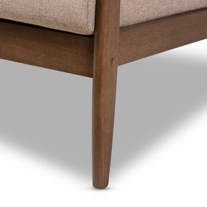Baxton Studio Venza Mid-Century Modern Walnut Wood Light Brown Fabric Upholstered 2-Seater Loveseat Baxton Studio-sofas-Minimal And Modern - 7