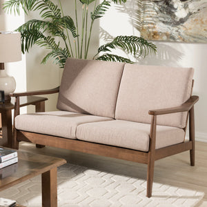 Baxton Studio Venza Mid-Century Modern Walnut Wood Light Brown Fabric Upholstered 2-Seater Loveseat Baxton Studio-sofas-Minimal And Modern - 1
