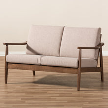 Baxton Studio Venza Mid-Century Modern Walnut Wood Light Brown Fabric Upholstered 2-Seater Loveseat Baxton Studio-sofas-Minimal And Modern - 8