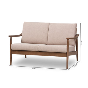 Baxton Studio Venza Mid-Century Modern Walnut Wood Light Brown Fabric Upholstered 2-Seater Loveseat Baxton Studio-sofas-Minimal And Modern - 9