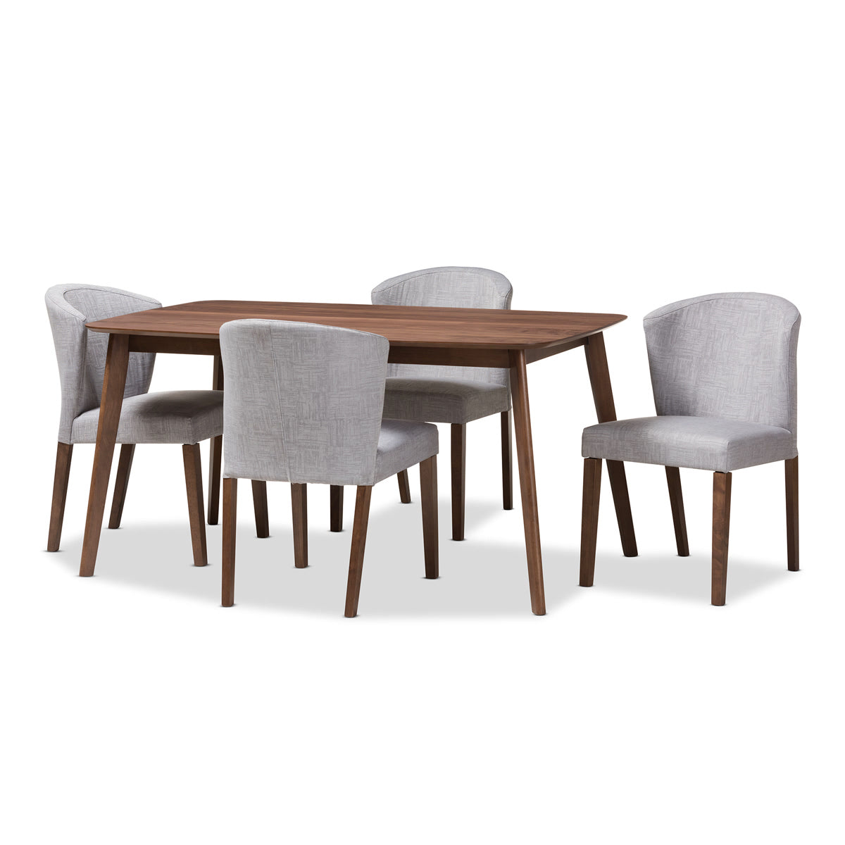 Baxton Studio Cassie Mid-Century Modern Walnut Wood Light Grey Fabric 5-Piece Dining Set Baxton Studio-0-Minimal And Modern - 1