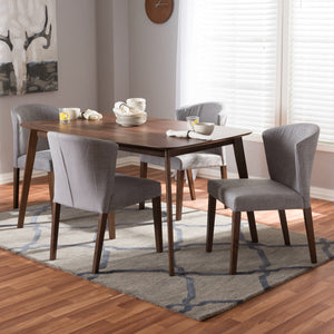Baxton Studio Cassie Mid-Century Modern Walnut Wood Light Grey Fabric 5-Piece Dining Set Baxton Studio-0-Minimal And Modern - 4