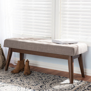 Baxton Studio Elia Mid-Century Modern Walnut Wood Light Grey Fabric Button-Tufted Bench Baxton Studio-benches-Minimal And Modern - 1