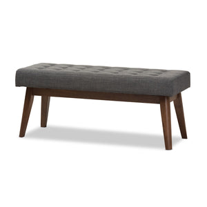 Baxton Studio Elia Mid-Century Modern Walnut Wood Dark Grey Fabric Button-Tufted Bench Baxton Studio-benches-Minimal And Modern - 2