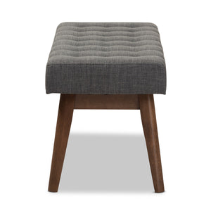 Baxton Studio Elia Mid-Century Modern Walnut Wood Dark Grey Fabric Button-Tufted Bench Baxton Studio-benches-Minimal And Modern - 4