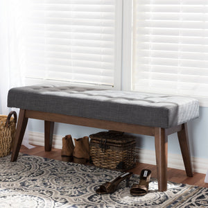 Baxton Studio Elia Mid-Century Modern Walnut Wood Dark Grey Fabric Button-Tufted Bench Baxton Studio-benches-Minimal And Modern - 1