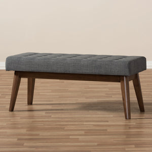 Baxton Studio Elia Mid-Century Modern Walnut Wood Dark Grey Fabric Button-Tufted Bench Baxton Studio-benches-Minimal And Modern - 7