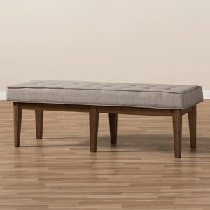 Baxton Studio Lucca Mid-Century Modern Walnut Wood Light Grey Fabric Button-Tufted Bench Baxton Studio-benches-Minimal And Modern - 7