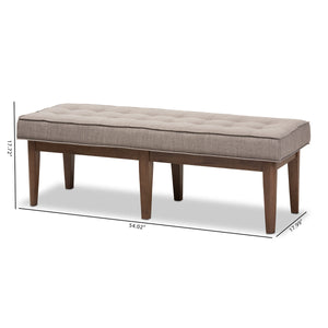 Baxton Studio Lucca Mid-Century Modern Walnut Wood Light Grey Fabric Button-Tufted Bench Baxton Studio-benches-Minimal And Modern - 8