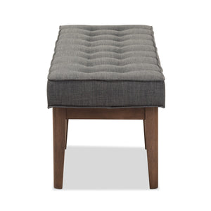 Baxton Studio Lucca Mid-Century Modern Walnut Wood Dark Grey Fabric Button-Tufted Bench Baxton Studio-benches-Minimal And Modern - 4