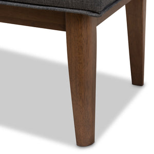 Baxton Studio Lucca Mid-Century Modern Walnut Wood Dark Grey Fabric Button-Tufted Bench Baxton Studio-benches-Minimal And Modern - 6
