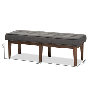 Baxton Studio Lucca Mid-Century Modern Walnut Wood Dark Grey Fabric Button-Tufted Bench Baxton Studio-benches-Minimal And Modern - 8