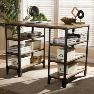 Baxton Studio Pepe Rustic Industrial Metal and Distressed Wood Storage Desk Baxton Studio-Desks-Minimal And Modern - 1