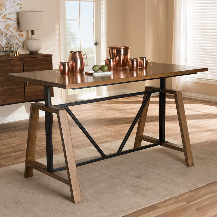 Baxton Studio Nico Rustic Industrial Metal and Distressed Wood Adjustable Height Work Table Baxton Studio-Desks-Minimal And Modern - 1