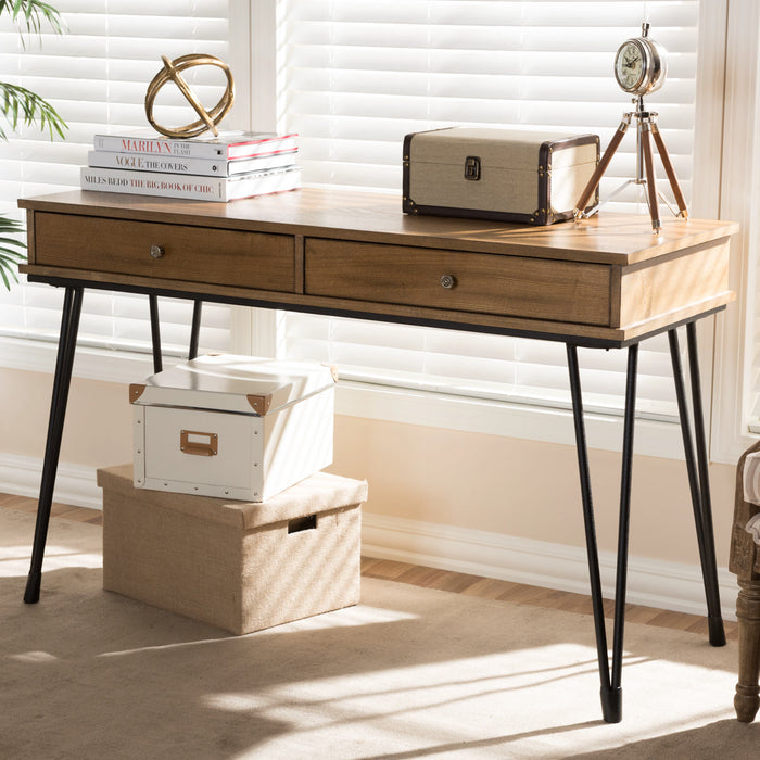 Baxton Studio Toma Rustic Industrial Metal and Distressed Wood 2-Drawer Storage Desk Baxton Studio-Desks-Minimal And Modern - 1