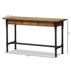 Baxton Studio Zeta Rustic Industrial Metal and Distressed Wood 3-Drawer Storage Desk Baxton Studio-Desks-Minimal And Modern - 11