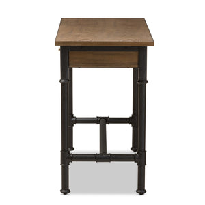 Baxton Studio Zeta Rustic Industrial Metal and Distressed Wood 3-Drawer Storage Desk Baxton Studio-Desks-Minimal And Modern - 5