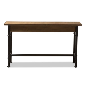 Baxton Studio Zeta Rustic Industrial Metal and Distressed Wood 3-Drawer Storage Desk Baxton Studio-Desks-Minimal And Modern - 6