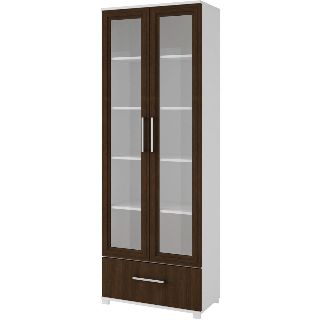 Accentuations by Manhattan Comfort Serra 1.0 - 5-Shelf Bookcase in White and Tobacco-Minimal & Modern