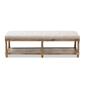 Baxton Studio Celeste French Country Weathered Oak Beige Linen Upholstered Ottoman Bench Baxton Studio-benches-Minimal And Modern - 3