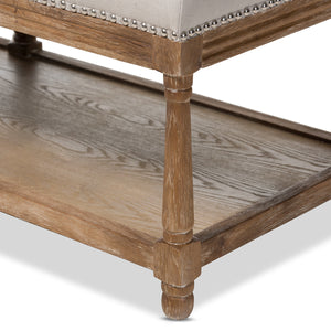 Baxton Studio Celeste French Country Weathered Oak Beige Linen Upholstered Ottoman Bench Baxton Studio-benches-Minimal And Modern - 6