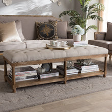 Baxton Studio Celeste French Country Weathered Oak Beige Linen Upholstered Ottoman Bench Baxton Studio-benches-Minimal And Modern - 1