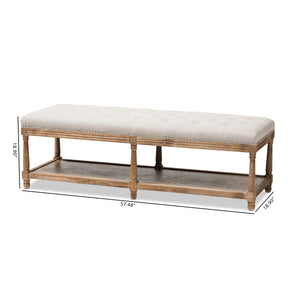 Baxton Studio Celeste French Country Weathered Oak Beige Linen Upholstered Ottoman Bench Baxton Studio-benches-Minimal And Modern - 8