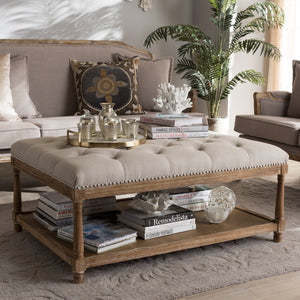 Baxton Studio Carlotta French Country Weathered Oak Beige Linen Rectangular Coffee Table Ottoman Baxton Studio-ottomans-Minimal And Modern - 1