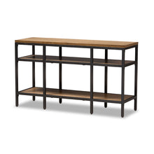 Baxton Studio Caribou Rustic Industrial Style Oak Brown Finished Wood and Black Finished Metal Console Table Baxton Studio-tv Stands-Minimal And Modern - 1