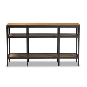 Baxton Studio Caribou Rustic Industrial Style Oak Brown Finished Wood and Black Finished Metal Console Table Baxton Studio-tv Stands-Minimal And Modern - 2