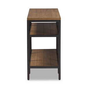 Baxton Studio Caribou Rustic Industrial Style Oak Brown Finished Wood and Black Finished Metal Console Table Baxton Studio-tv Stands-Minimal And Modern - 3