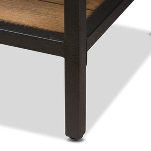 Baxton Studio Caribou Rustic Industrial Style Oak Brown Finished Wood and Black Finished Metal Console Table Baxton Studio-tv Stands-Minimal And Modern - 5