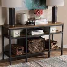 Baxton Studio Caribou Rustic Industrial Style Oak Brown Finished Wood and Black Finished Metal Console Table Baxton Studio-tv Stands-Minimal And Modern - 6
