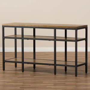Baxton Studio Caribou Rustic Industrial Style Oak Brown Finished Wood and Black Finished Metal Console Table Baxton Studio-tv Stands-Minimal And Modern - 7