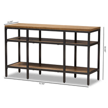 Baxton Studio Caribou Rustic Industrial Style Oak Brown Finished Wood and Black Finished Metal Console Table Baxton Studio-tv Stands-Minimal And Modern - 8