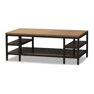 Baxton Studio Caribou Rustic Industrial Style Oak Brown Finished Wood and Black Finished Metal Coffee Table Baxton Studio-coffee tables-Minimal And Modern - 1