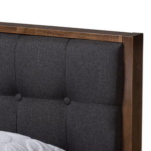 Baxton Studio Jupiter Mid-Century Modern Grey Fabric Upholstered Button-Tufted Queen Size Platform Bed Baxton Studio-Queen Bed-Minimal And Modern - 5