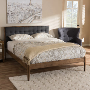 Baxton Studio Jupiter Mid-Century Modern Grey Fabric Upholstered Button-Tufted Queen Size Platform Bed Baxton Studio-Queen Bed-Minimal And Modern - 7