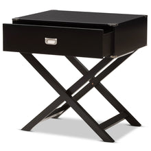 Baxton Studio Curtice Modern And Contemporary Black 1-Drawer Wooden Bedside Table Baxton Studio-nightstands-Minimal And Modern - 3