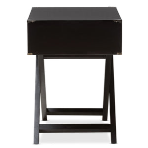 Baxton Studio Curtice Modern And Contemporary Black 1-Drawer Wooden Bedside Table Baxton Studio-nightstands-Minimal And Modern - 5